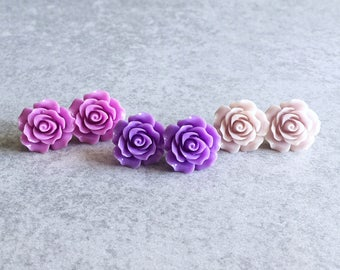 Violet · Lilac · Lavender // Purple Rose Earrings - 20mm Resin Flower Cabochons, Stainless Steel Stud Backs, Shabby Chic, Bridesmaid Jewelry