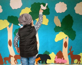 Printable Pattern for Felt Forest Wall. Over 30 Pieces. Interactive on Felt or Paper, 3x5 ft. Buy a craft, feed a baby.
