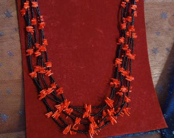 Handmade Black Coral beads and Dyed Red Coral Chips Stranded Necklace
