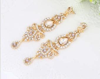 PAIR Chandelier top Champange crystal platinum-plated earrings bridal wedding prom drop Gauges Plugs 4g 2g 0g 5mm 6mm 8mm