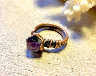 Raw Amethyst Ring - Raw Copper Ring - Raw Crystal Ring - Gemstone Ring Size 6.5 - Electroformed Ring - February Birthstone Jewelry