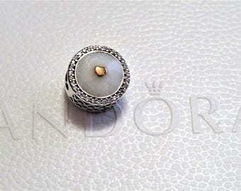 Pandora Sterling Silver  14K Gold Precious Heart, Silver Enamel & Clear CZ Charm