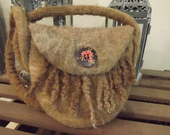 Gorgeous hand felted bag shoulder bag made from Natural  British Wool