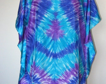Pure silk Tunic Top, Beach Cover up, Hand dyed Kaftan, Short Dress, Indigo, Purple & Turquoise Women's Caftan.