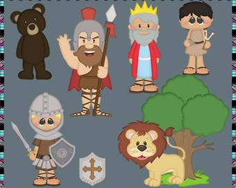 David and Goliath 2017 - Instant Download - Commercial Use Digital Clipart Elements Graphics Set