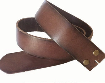 Distressed Brown Leather Snap Belt Strap - Removable Strap with Brass Snaps - for Buckle -  Cool Gifts for Men or Women - Guys - Him Her