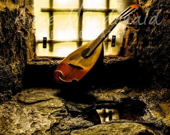 Download,Mandolin,Antique,Musical Instrument,Scalloway,Shetland,Scalloway Castle,Stringed Instrument,Print Download,Black and White Wall Art