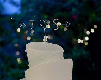 Personalised Wire Cake Topper - with your initials, heart and arrow - Weddings, Engagement