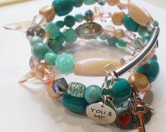Handmade Newly Wed  Memory Wire Bracelet