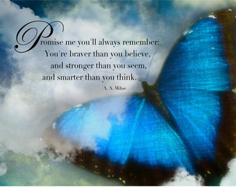 """Magnet, Inspirational quote, """"Promise me you'll always remember"""" A.A. Milne quote rounded corners 4"""" x 6"""" LemonDropImages"""