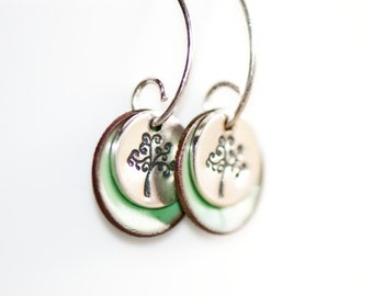 Tree of Life Earrings, Color Enamel Discs, Handstamped Jewelry, Torch Fired Enamel, Sterling Silver, Tree Jewelry, Nature Earrings