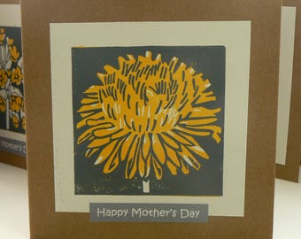 Dandilion hand printed linocut Mother's Day card