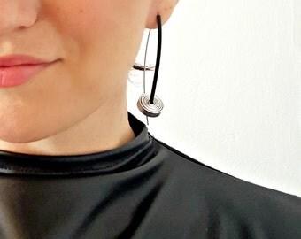 Contemporary earrings Rubber earrings Spiral earrings Gift for her Modern earrings Black earrings Statement earrings Dangle earrings