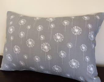 Dandelions Pillow Cover, 12''x20'' White Dandelions Pillow Cover, Grey Floral  Pillow Cover