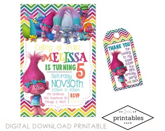 Invite AND Thank you Tag Trolls poppy DIGITAL DOWNLOAD Invitation Custom Printable party Birthday pdf invite