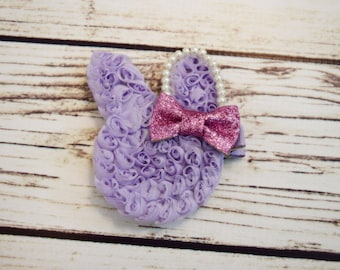 Handcrafted Lavender and Pink Bunny Hair Clip - Glitter Easter Rabbit Bow -Pearl Bunny Hair Clip -Easter Bunny Baby Bow - Toddler Hair Clip