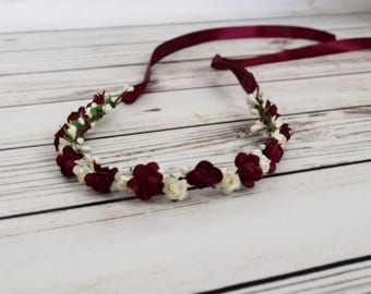 ON SALE Handcrafted Ivory and Burgundy Flower Crown - Wedding Accessory - Wine Flower Wreath - Red Rose Accessory - Bridal Crown - Woodland