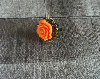 bronze flower ring orange