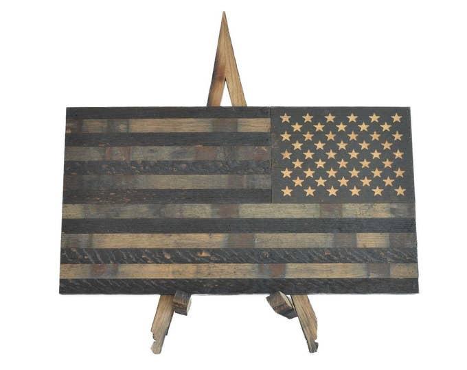 Bourbon Whiskey Barrel Defender Flag- USA Flag Made From Oak Barrel Wood
