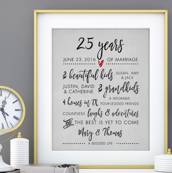 25th Wedding Anniversary Gift, 25 Years Anniversary Silver Anniversary ...