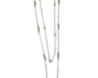 Double Necklace/ Chain With Synthetic Pearl