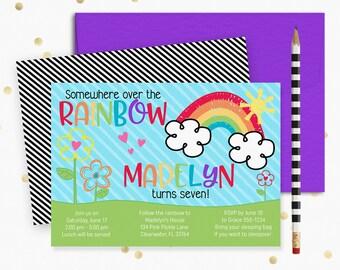 Rainbow Invitation, Rainbow Party, Rainbow Birthday Invitation, Rainbow Birthday, Rainbow Birthday Party, Rainbow Invites, Rainbow Baby |134