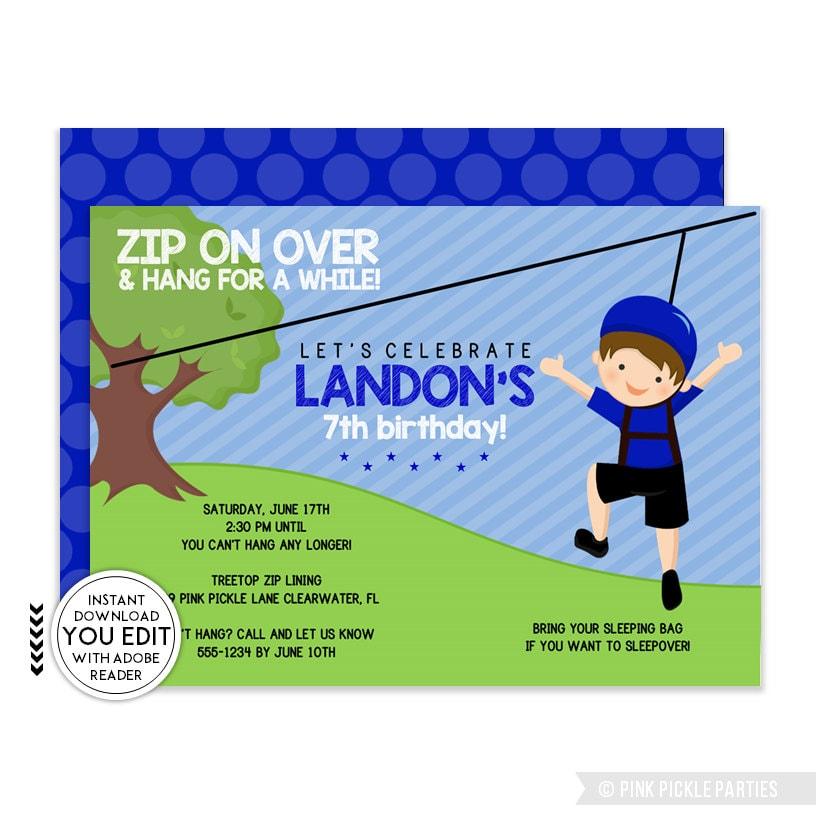 Zip Line Invitation Zip Line Party Zipline Birthday