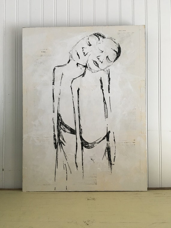 The human-I love /Art figurative/table/Illustration/transfer of picture/collage and acrylic with intervention of sewing on wood panel
