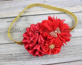 RTS Red & gold bow headband {red headband, gold headband, Canada Day headband, baby headband}