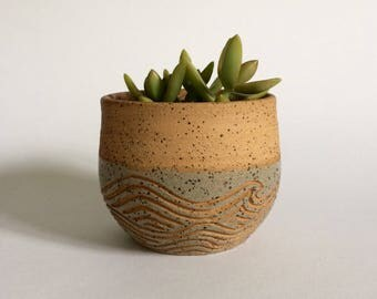 Ceramic Planter Pot with Carved Waves and Folded Lip