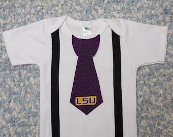 LSU Onesie, with Tie, LSU baby, Shirt, Outfit, Newborn, Bodysuit, Creeper, Wedding, First Birthday 1 T-shirt