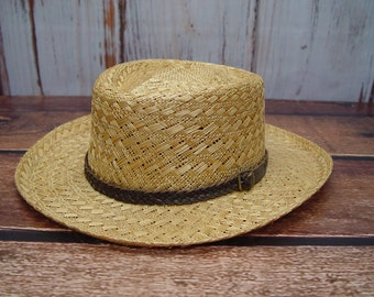 Vintage Stetson Straw Hat, Braided Leather Band, Like New, Size XL