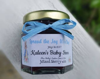It's a Boy Favors - Jam Favors - 50 (2oz) Mini Jam Favors - Baby Shower Favors - Baby Sprinkle Favors - Welcome Baby Favors - It's a Girl