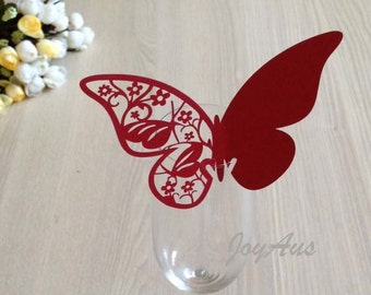 50x Burgundy Butterfly Name Place Card | Wine Glass Flute Wedding & Party Reception Ceremony Banquet Function Table Centerpiece Decoration