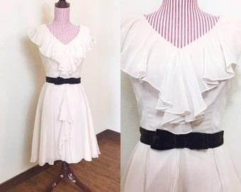 1950s Vintage Dress / 50s Chiffon Dress / Champagne Formal Dress / Velvet Bow