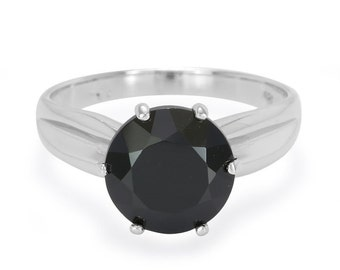 3.67ct Black Spinel 925 Sterling Silver Ring Size 6.50