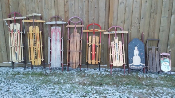 Vintage Wood Sled Old American Winter Snow Rustic Christmas Western Industrial Decoration Holiday Outdoor Wreath Wall hanging sleigh door