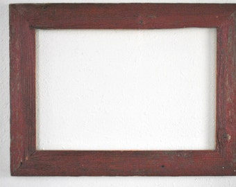 13 x 19  Reclaimed Reddish Farm Fence Picket Frame. Weathered, Red, and Rustic, One-of-a-kind