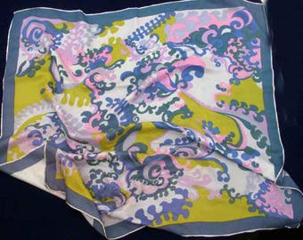 Lovely swirly 'psychedelic' patterned silk-look scarf, hand rolled edges, circa 1960's-70's