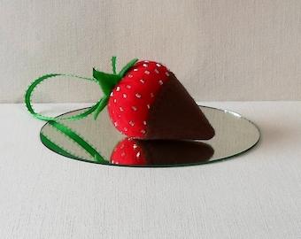 Handmade Felt Milk Chocolate Dipped Strawberry Ornament