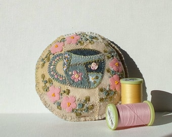 Handmade Felted Wool Embroidered Broken China Crazy Patch Pincushion