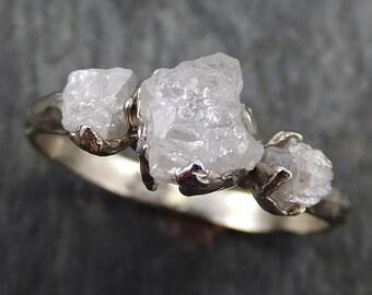 Raw Rough Diamond Engagement Stacking ring Wedding anniversary White Gold 14k Rustic byAngeline 0396