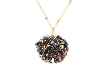 Titanium aura crystal necklace - amethyst necklace - raw crystal - druzy necklace - a raw amethyst on 14k gold filled satellite chain