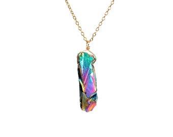 Rainbow crystal necklace - titanium quartz necklace - crystal quartz point - aura crystal necklace - aura quartz