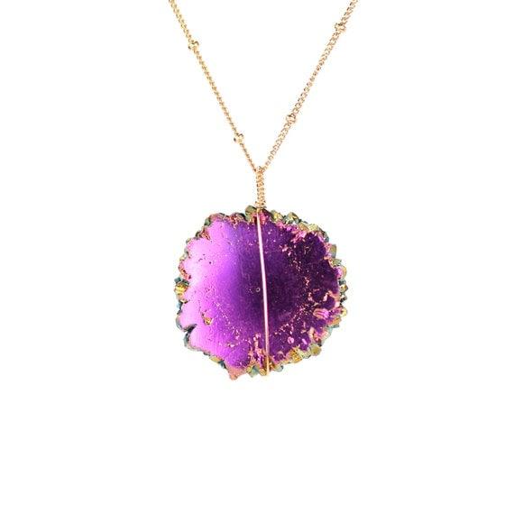 Purple aura crystal necklace - stalactite necklace - solar quartz necklace - rare crystal necklace - gold filled satellite necklace
