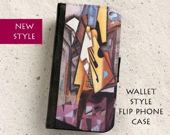 iPhone Case (all models) - Juan Gris - Guitar - Wallet style flip case -  Samsung Galaxy S4,S5,S6,S7Edge,Note5,S8,S8Plus & more