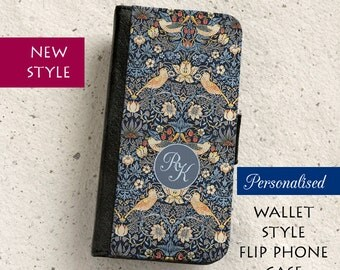 iPhone Case (all models) - William Morris Strawberry Thief in Blue - Personalised Wallet flip case -  Samsung Galaxy S4,S5,S6,S7,S8 & more