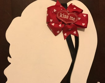 Kiss me girls hair bow - Valentines Day - red pinwheel bow - heart bow - toddler hair accessory - simple but cute bow