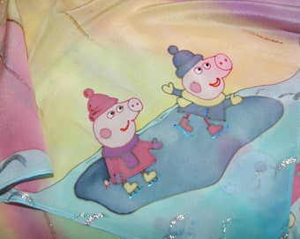 "Hand painted Silk shawl ""Peppa pig - sunny day"""