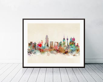 san antonio texas skyline .san antonio texas.san antonio cityscape. colorful watercolor skyline.Giclee art print.color your world with bri.